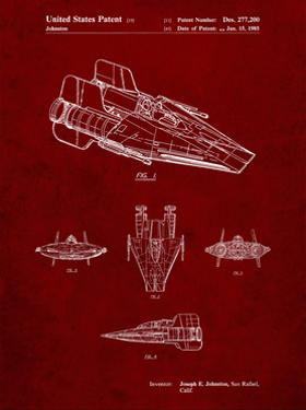 PP97-Burgundy Star Wars RZ-1 A Wing Starfighter Patent Poster by Cole Borders