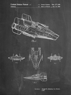 PP97-Chalkboard Star Wars RZ-1 A Wing Starfighter Patent Poster by Cole Borders
