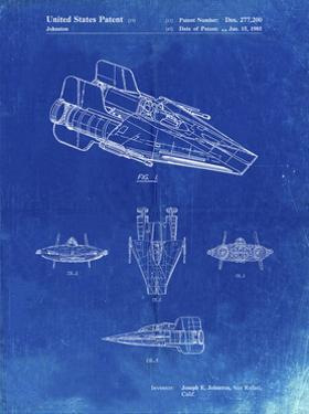 PP97-Faded Blueprint Star Wars RZ-1 A Wing Starfighter Patent Poster by Cole Borders