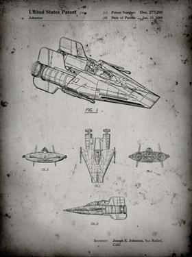 PP97-Faded Grey Star Wars RZ-1 A Wing Starfighter Patent Poster by Cole Borders