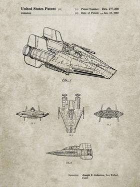 PP97-Sandstone Star Wars RZ-1 A Wing Starfighter Patent Poster by Cole Borders