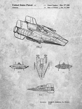 PP97-Slate Star Wars RZ-1 A Wing Starfighter Patent Poster by Cole Borders