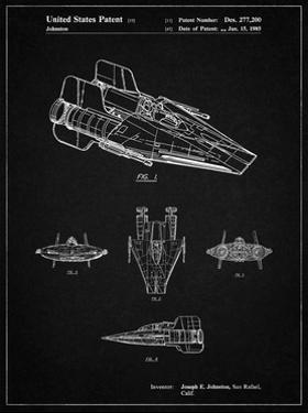 PP97-Vintage Black Star Wars RZ-1 A Wing Starfighter Patent Poster by Cole Borders