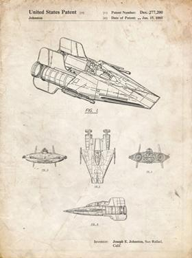 PP97-Vintage Parchment Star Wars RZ-1 A Wing Starfighter Patent Poster by Cole Borders
