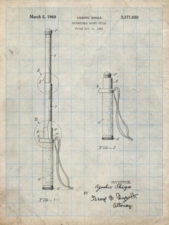 PP970-Antique Grid Parchment Night Stick Patent Poster by Cole Borders