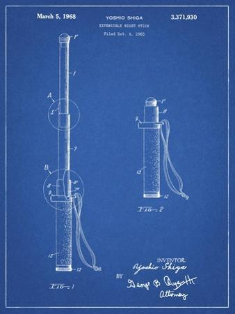 PP970-Blueprint Night Stick Patent Poster by Cole Borders