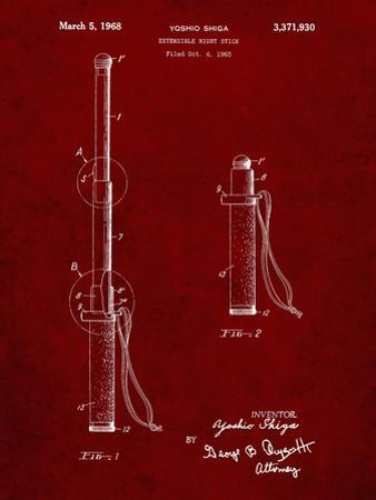 PP970-Burgundy Night Stick Patent Poster by Cole Borders