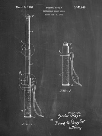 PP970-Chalkboard Night Stick Patent Poster by Cole Borders