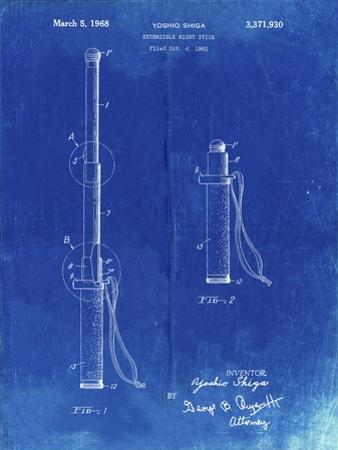 PP970-Faded Blueprint Night Stick Patent Poster by Cole Borders