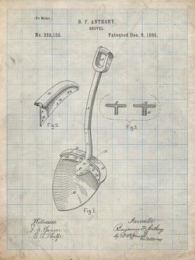 PP976-Antique Grid Parchment Original Shovel Patent 1885 Patent Poster by Cole Borders