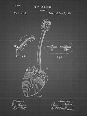 PP976-Black Grid Original Shovel Patent 1885 Patent Poster by Cole Borders