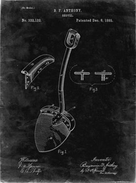 PP976-Black Grunge Original Shovel Patent 1885 Patent Poster by Cole Borders