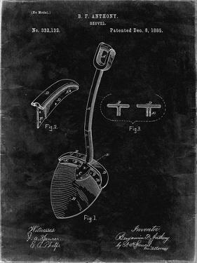PP976-Black Grunge Original Shovel Patent 1885 Patent Poster by Cole Borders