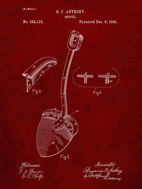PP976-Burgundy Original Shovel Patent 1885 Patent Poster by Cole Borders