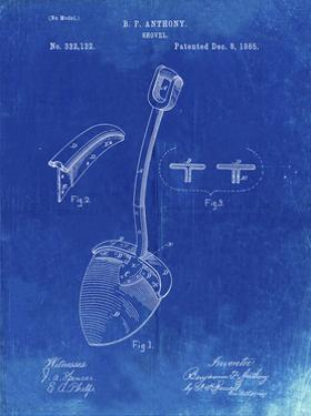 PP976-Faded Blueprint Original Shovel Patent 1885 Patent Poster by Cole Borders