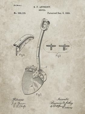 PP976-Sandstone Original Shovel Patent 1885 Patent Poster by Cole Borders