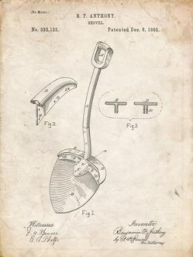 PP976-Vintage Parchment Original Shovel Patent 1885 Patent Poster by Cole Borders
