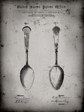 PP977-Faded Grey Osiris Sterling Flatware Spoon Patent Poster by Cole Borders
