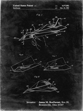 PP983-Black Grunge Paper Airplane Patent Poster by Cole Borders