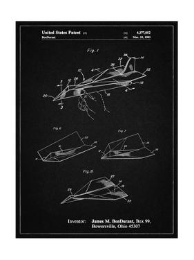 PP983-Vintage Black Paper Airplane Patent Poster by Cole Borders