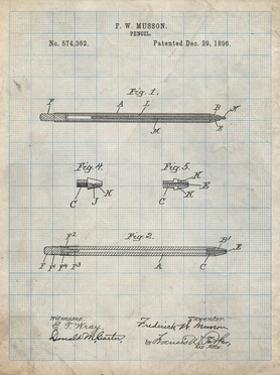 PP984-Antique Grid Parchment Pencil Patent Poster by Cole Borders