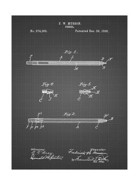 PP984-Black Grid Pencil Patent Poster by Cole Borders