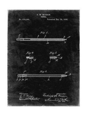 PP984-Black Grunge Pencil Patent Poster by Cole Borders