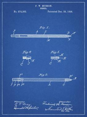 PP984-Blueprint Pencil Patent Poster by Cole Borders