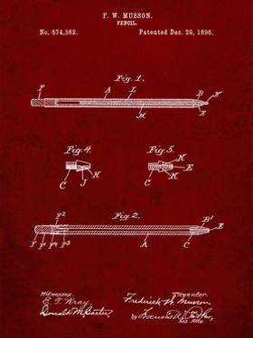 PP984-Burgundy Pencil Patent Poster by Cole Borders