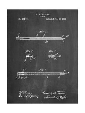 PP984-Chalkboard Pencil Patent Poster by Cole Borders