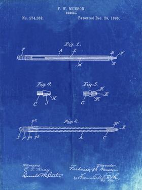 PP984-Faded Blueprint Pencil Patent Poster by Cole Borders