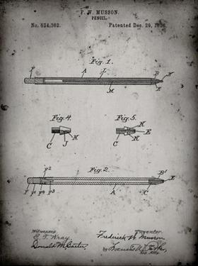 PP984-Faded Grey Pencil Patent Poster by Cole Borders