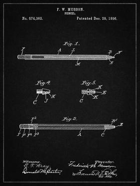 PP984-Vintage Black Pencil Patent Poster by Cole Borders