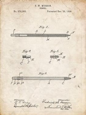 PP984-Vintage Parchment Pencil Patent Poster by Cole Borders