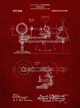 PP988-Burgundy Planetarium 1909 Patent Poster by Cole Borders