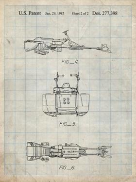 PP99-Antique Grid Parchment Star Wars Speeder Bike Patent Poster by Cole Borders