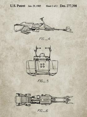 PP99-Sandstone Star Wars Speeder Bike Patent Poster by Cole Borders