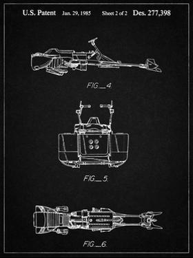 PP99-Vintage Black Star Wars Speeder Bike Patent Poster by Cole Borders
