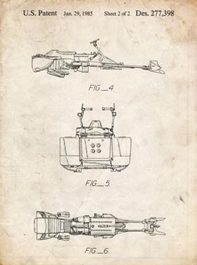 PP99-Vintage Parchment Star Wars Speeder Bike Patent Poster by Cole Borders