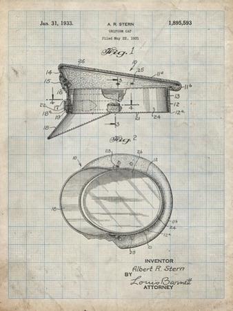 PP993-Antique Grid Parchment Police Hat 1933 Patent Poster by Cole Borders