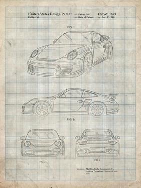 PP994-Antique Grid Parchment Porsche 911 with Spoiler Patent Poster by Cole Borders