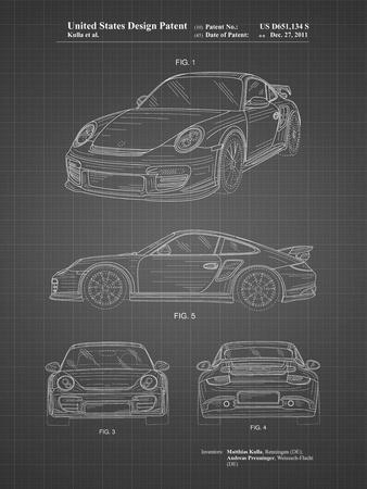 PP994-Black Grid Porsche 911 with Spoiler Patent Poster