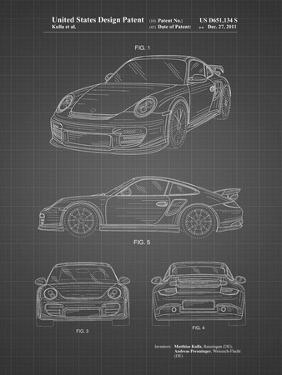 PP994-Black Grid Porsche 911 with Spoiler Patent Poster by Cole Borders