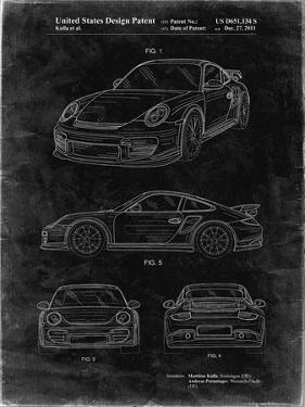 PP994-Black Grunge Porsche 911 with Spoiler Patent Poster by Cole Borders