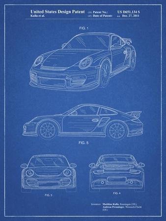 PP994-Blueprint Porsche 911 with Spoiler Patent Poster