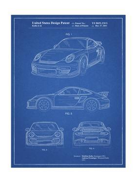 PP994-Blueprint Porsche 911 with Spoiler Patent Poster by Cole Borders