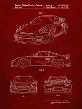 PP994-Burgundy Porsche 911 with Spoiler Patent Poster by Cole Borders