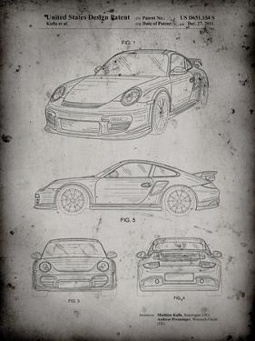 PP994-Faded Grey Porsche 911 with Spoiler Patent Poster by Cole Borders