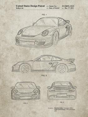 PP994-Sandstone Porsche 911 with Spoiler Patent Poster by Cole Borders
