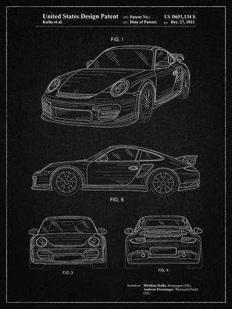 PP994-Vintage Black Porsche 911 with Spoiler Patent Poster
